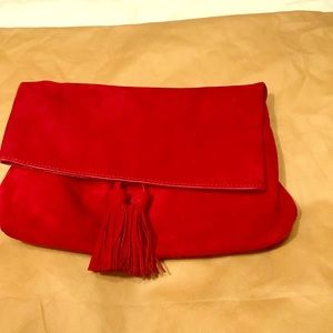 NWT Ann Taylor red suede fold over clutch